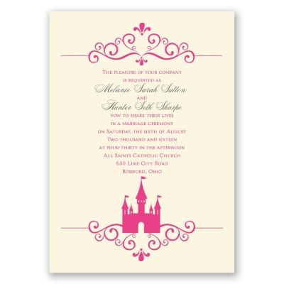 fairy tale castle wedding invitation ecru pretty wedding invites