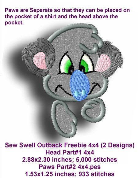 """Outback 4x4Applique design that matches are Outback Pals 4x4 Applique collections. Yours to use for free. One Design for 4""""x4"""" Hoop."""