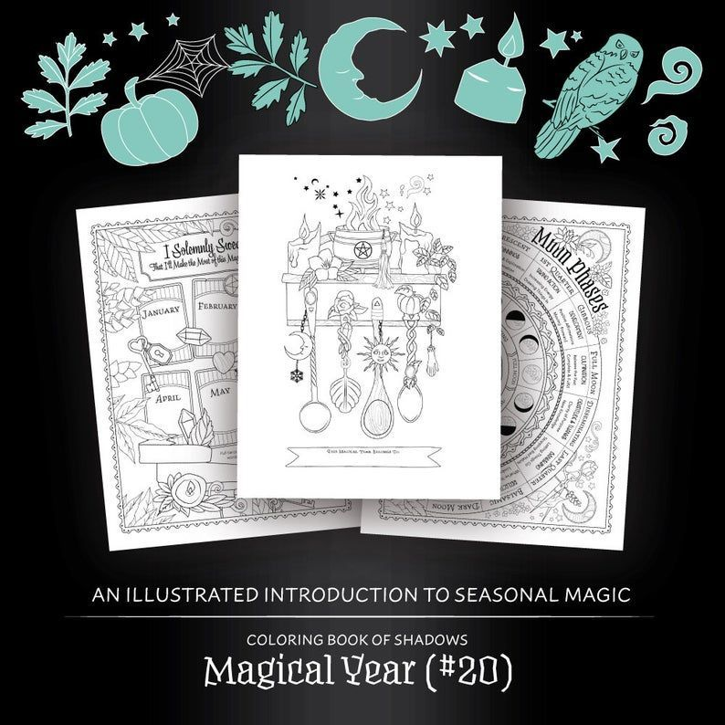 Coloring Book Of Shadows Magical Year 20 Printable Etsy Book Of Shadows Coloring Books Grimoire