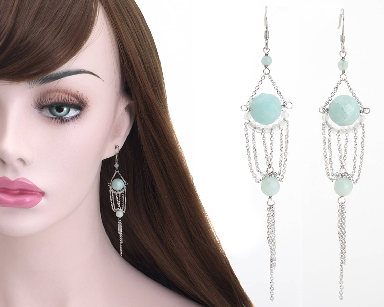 Amazonite Gemstone Dangle Earrings Silver Long Chain Earrings Gemstones Clusters Rhodium Plated 925 Sterling Silver Dangle Earrings Earring Earrings Jewelr
