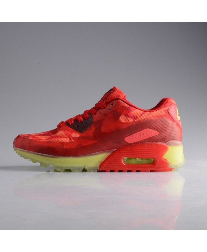 best service 81eab cb017 Nike Air Max 90 Ice Womens Sport Red Neon Yellow Green Trainer