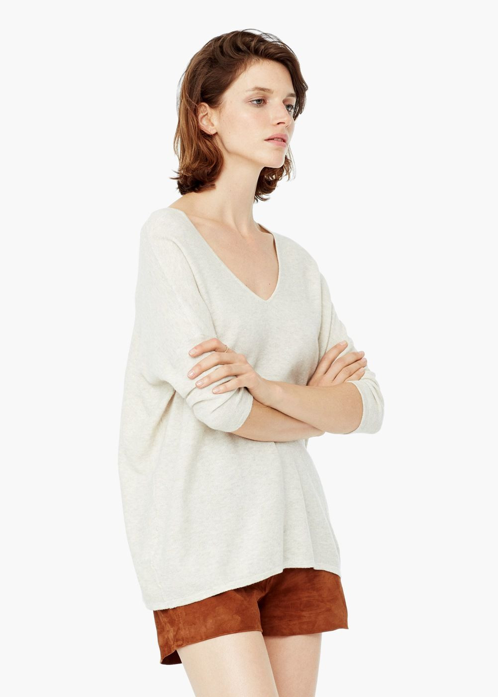 Metal thread sweater -  Women | MANGO