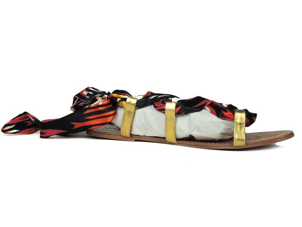 d23e0970749 Boutique 9 Women s Basia Island Look Flat Sandals Gold Orange Size 8.5 M   Boutique9