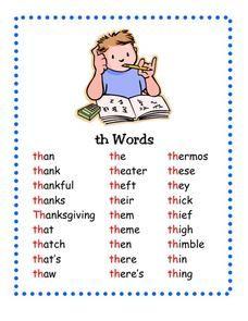 Th Words Kindergarten 2nd Grade Worksheet Th Words English Phonics Phonics Words