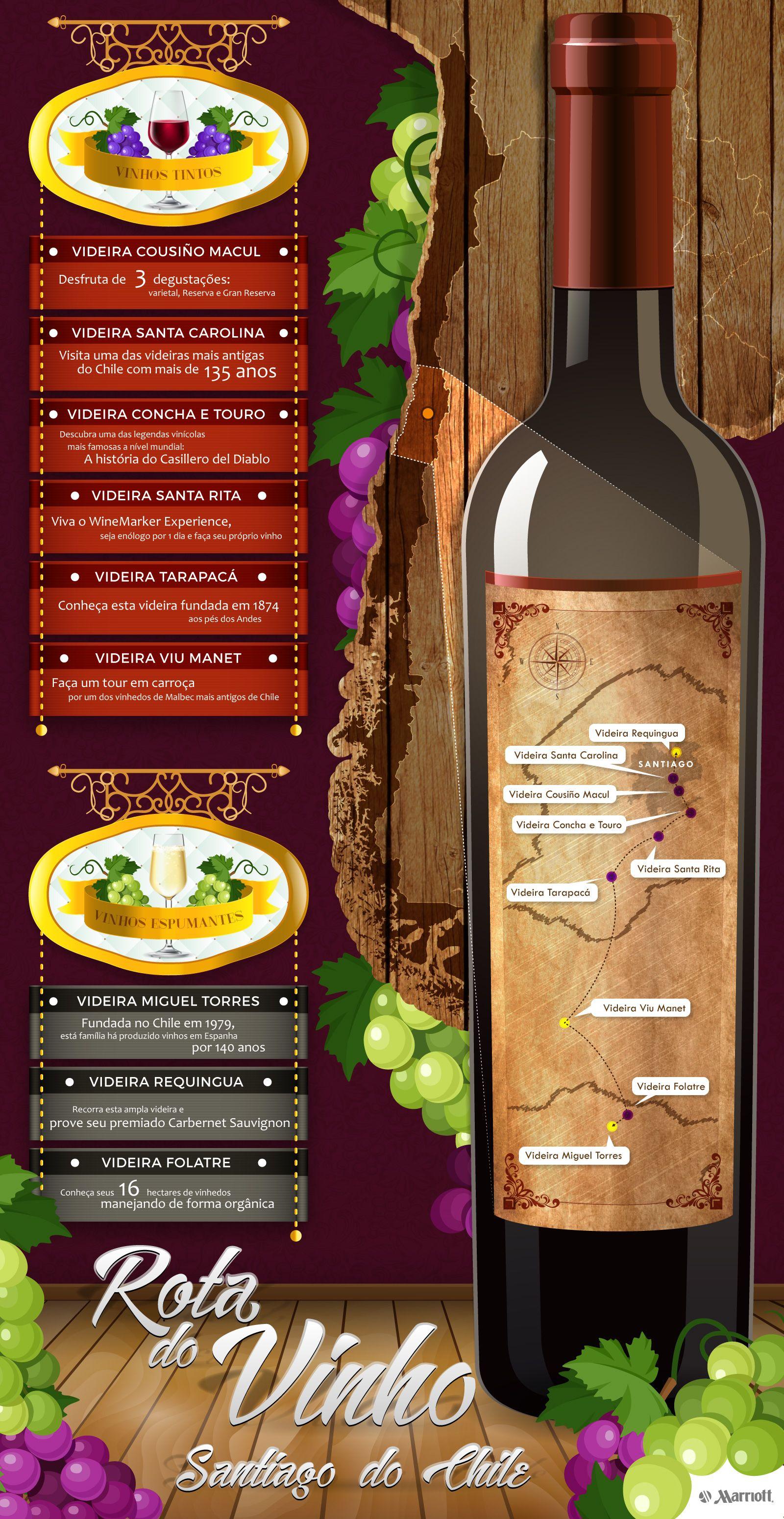 Se estiver de férias pela capital do Chile e não sabe o que fazer? Então, descubra nesta infográfica uma rota de deliciosos sabores e excelentes vinhos de mesa #Chile #SantiagodoChile #Vinho #RotadoVinho #Turismo #Férias #Wine #MyWineMoment #HotelesMarriott #Marriot #Infográfica #Colchagua