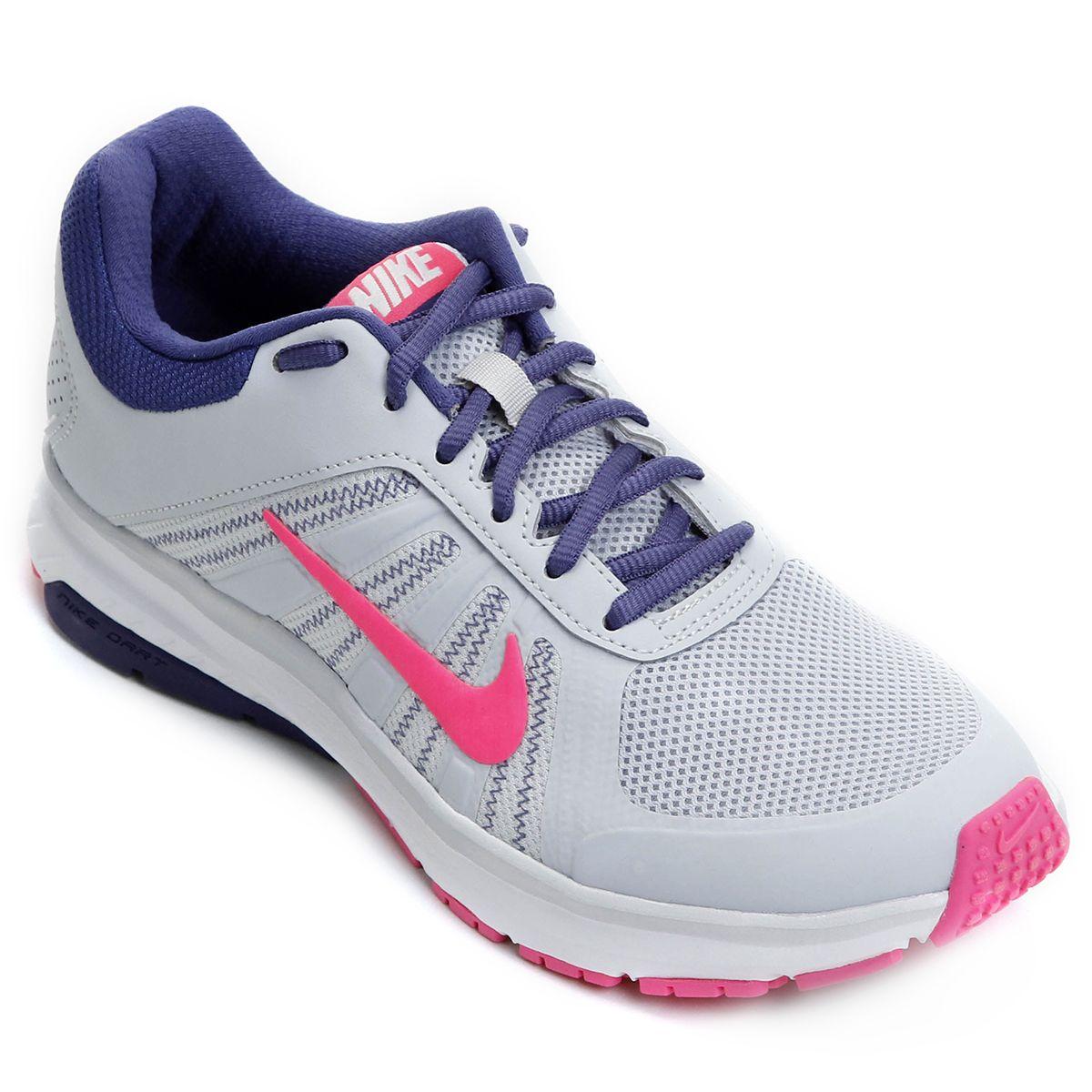 97b1d75684c Tênis Nike Dart 12 MSL Feminino - Cinza e Rosa