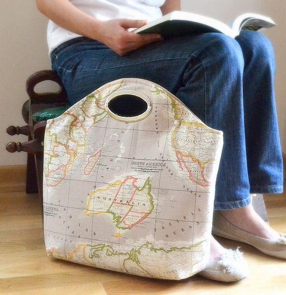 Bright mint bag mint world map bag leather canvas tote tan world map handle bag map fabriccanvas gumiabroncs Images