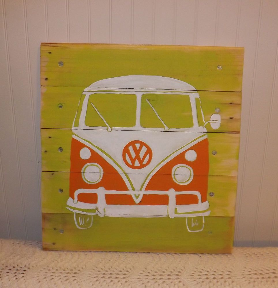 Hippie Van VW BUS/Transporter ORIGINAL PALLET ART Retro surf/beach ...