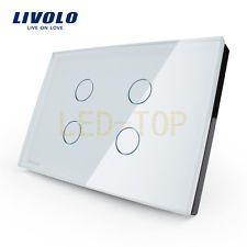 US Home Nástenné svietidlo dotykovým spínačom C304-81 4 Gang 1 Way White Crystal sklenená doska