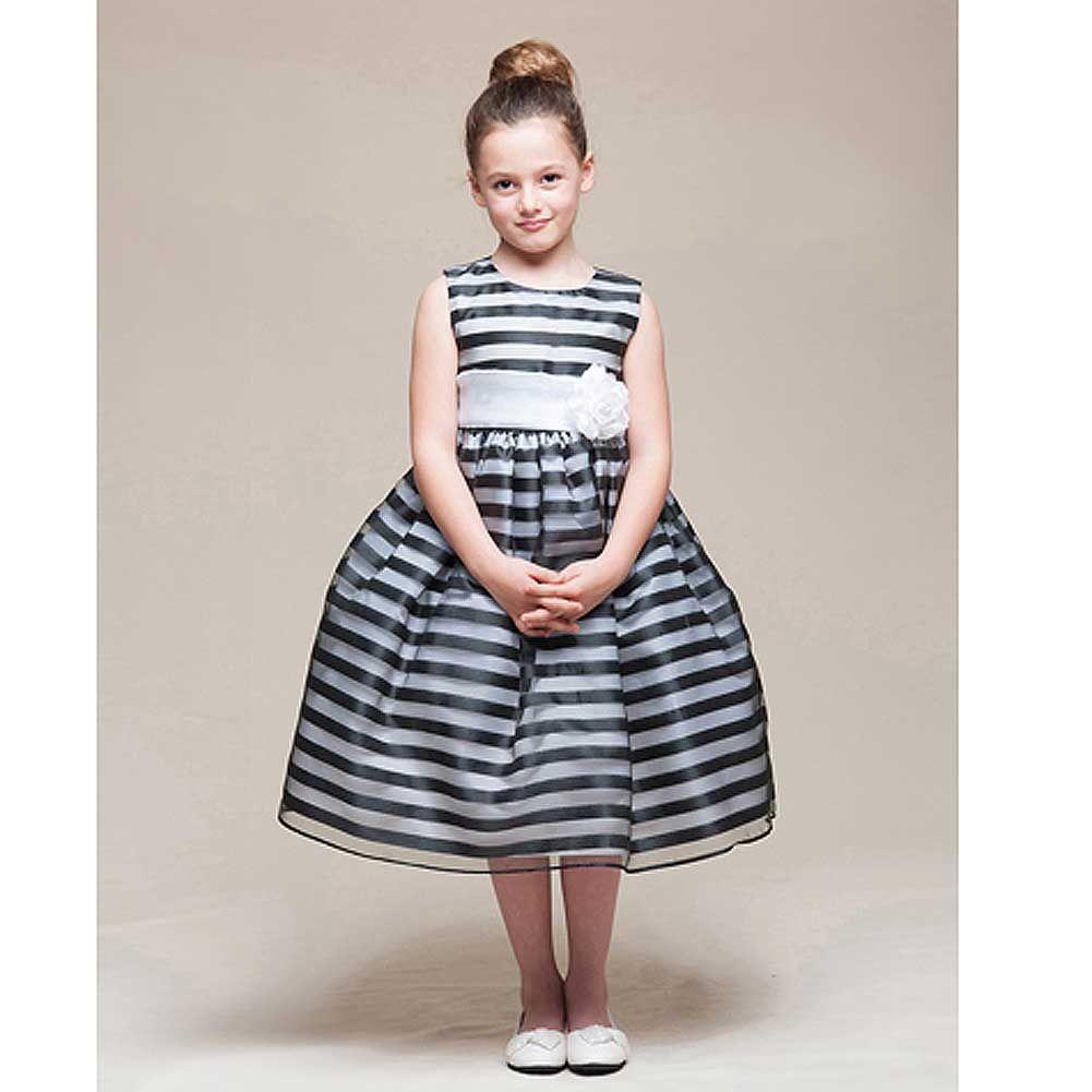 Crayon Kids Crayon Kids Black White Stripe Tea Length Flower Girl Dress Girl 2t 4t Walmart Com Baju Anak Anak [ 1001 x 1001 Pixel ]