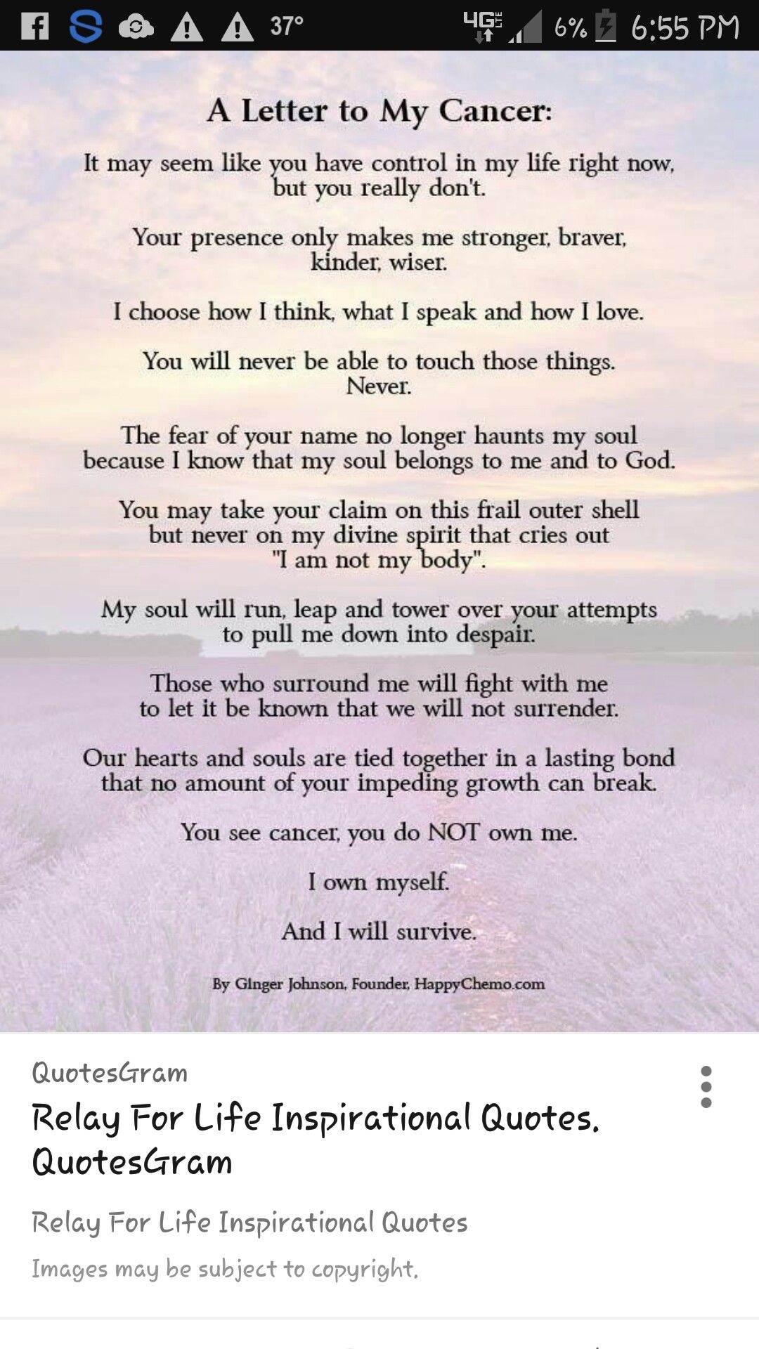 Quotes For Cancer Patients Cancer  Cancer Hope  Pinterest  Inspirational Poems