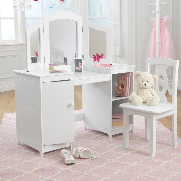 Deluxe 2 Piece Vanity Set with Mirror is part of Vanity set with mirror - The KidKraft Deluxe 2 Piece Vanity Set with Mirror is a wonderful addition to your little princess's room  This vanity set includes a vanity table with a mirror and a chair  Three adjustable mirrors are featured on the table, which lets your princess admire her beauty from any angle  There are also shelves on both the sides of the table to hold cosmetics and knickknacks  The manufactured wood construction provides maximum strength and durability  This vanity set is enameled with an elegant white finish  The Deluxe 2 Piece Vanity Set with Mirror from KidKraft is nontoxic and safe for your children  Wipe this vanity set with a clean, dry cloth to retain its original look for years