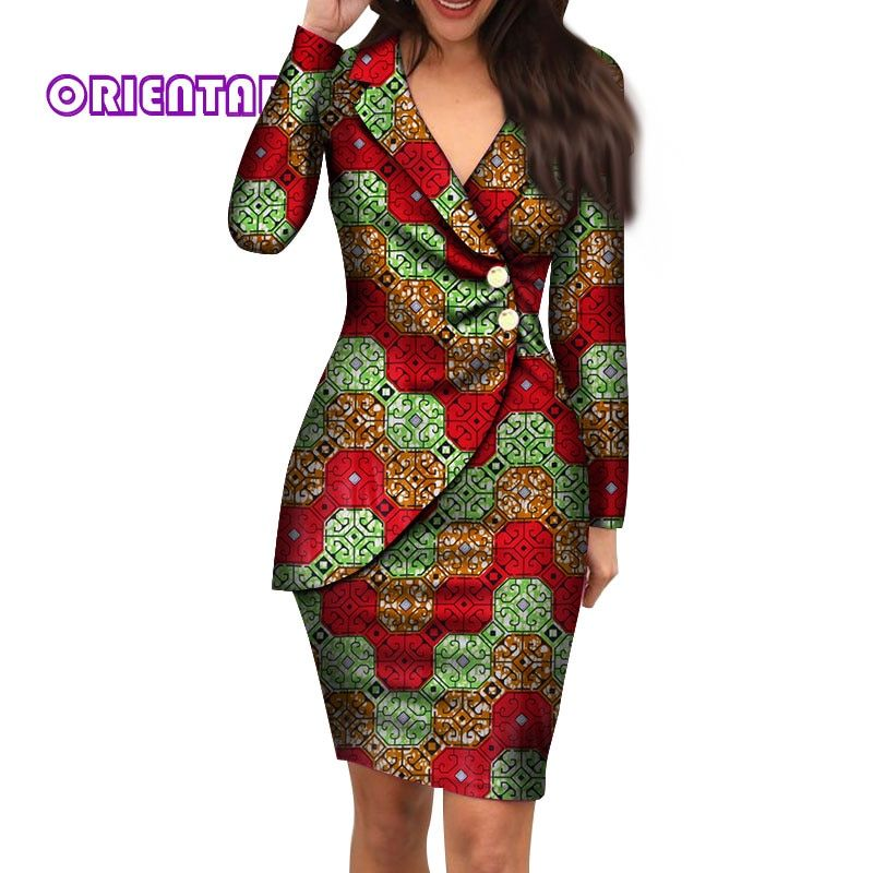 2019 Autumn African Dresses For Women Fashion Office Style V Neck Long Sleeve Midi Dress Bazin Riche African Print Clothing WY4052  From Octavi, $61.31 | DHgate.Com #africandressstyles