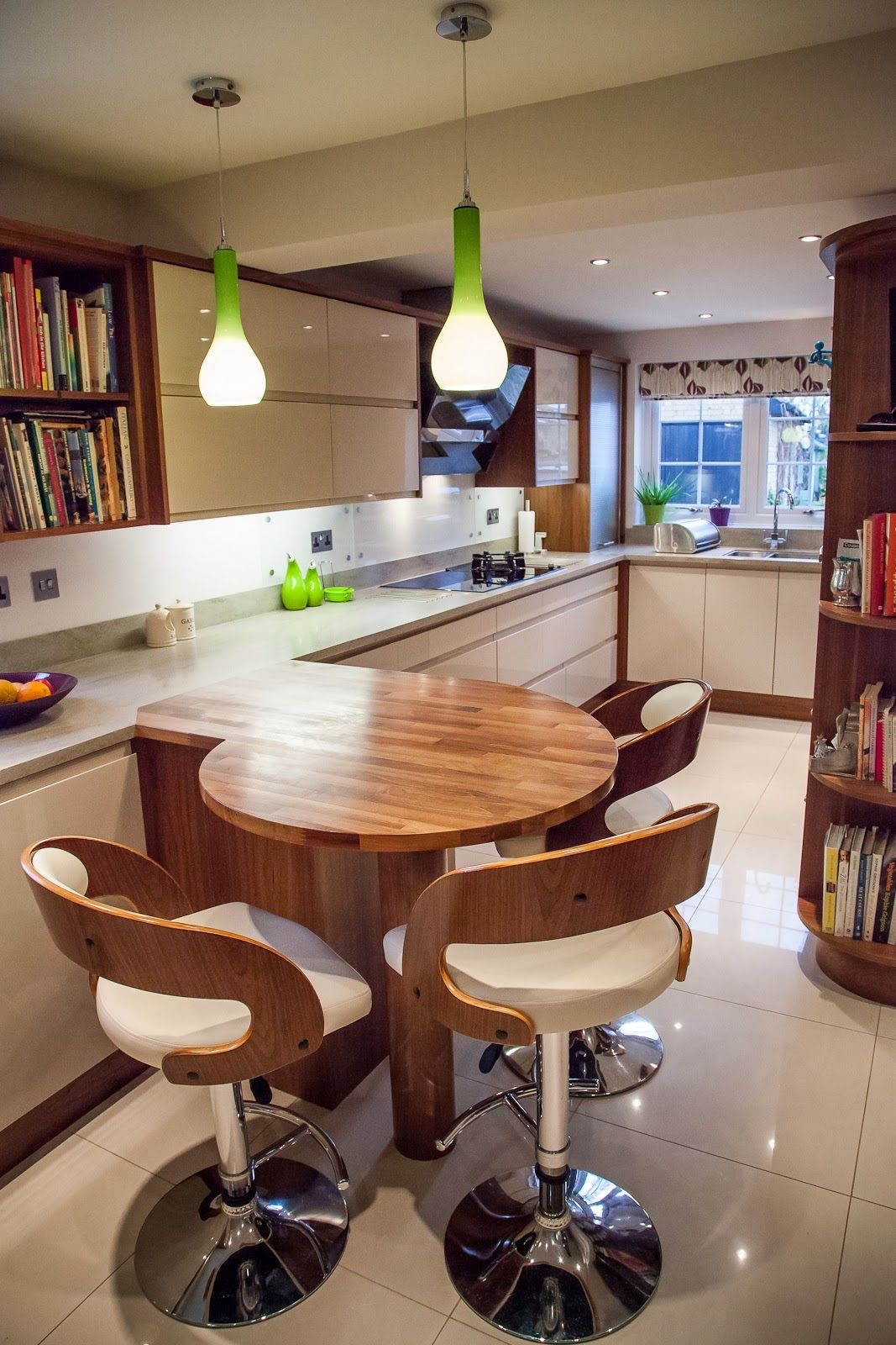 Wooden Round Breakfast Bar Situating Under Lime Green Modern Pendants With Back White Stools Surrounds Kitchen Design Completed Stunning