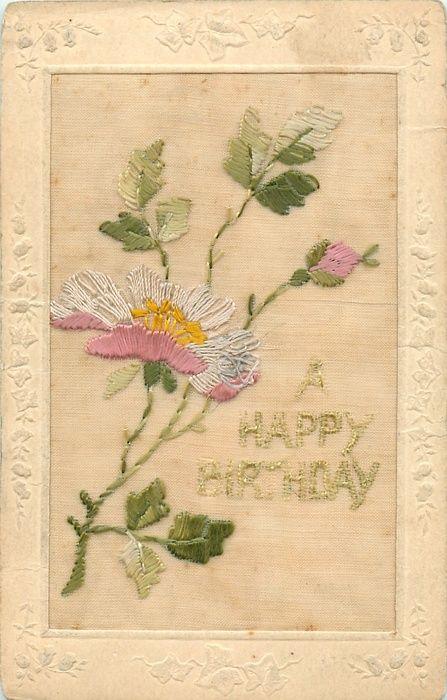 A happy birthday in green pinkwhite flower with yellow middle left a happy birthday in green pinkwhite flower with yellow middle left pink mightylinksfo