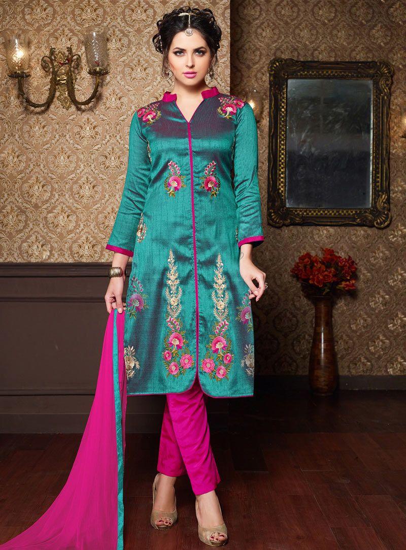 Teal Silk Pant Style Suit 91693 | Gurudwara Wedding Outfit Colours ...