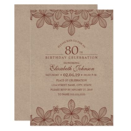 80th Birthday Party Rustic Lace Kraft Paper Card