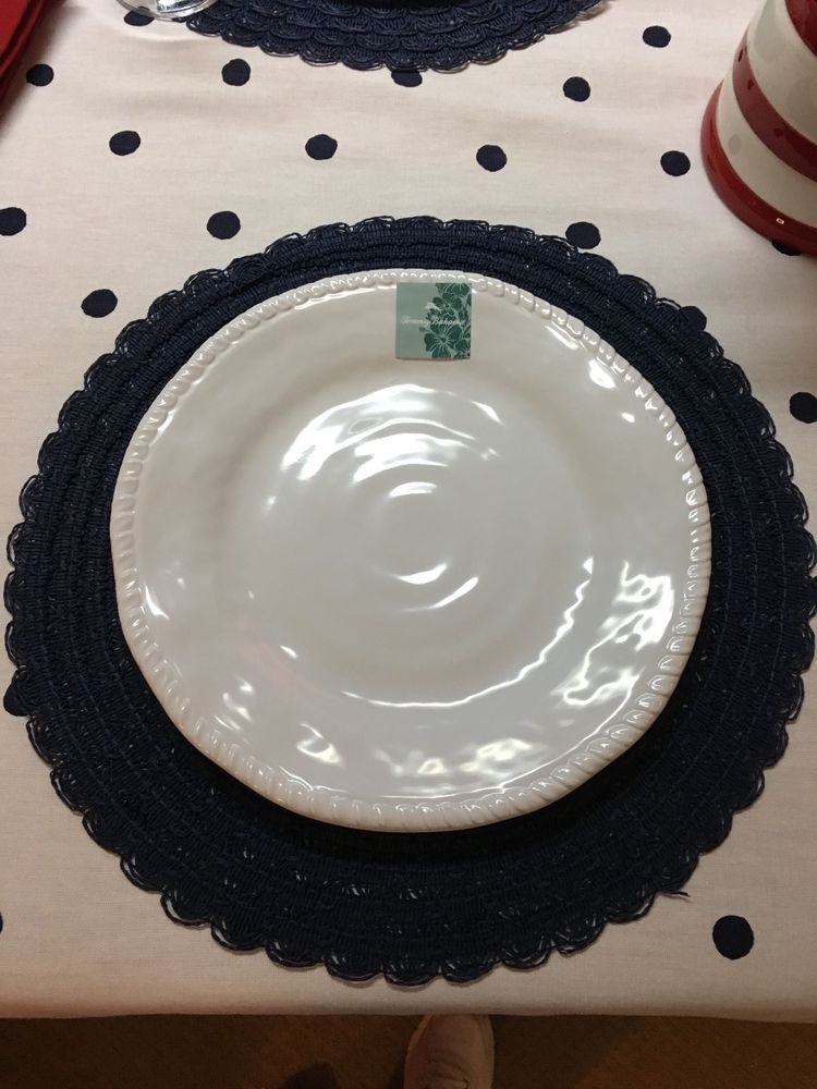 Tommy Bahama White 100% Melamine set of 4 11\  dinner plates for outdoors NWT : 100 dinner plates - pezcame.com