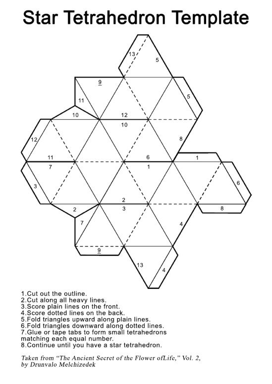Star Tetrahedron Printout Template Template, Star and DIY tutorial - hexaflexagon template