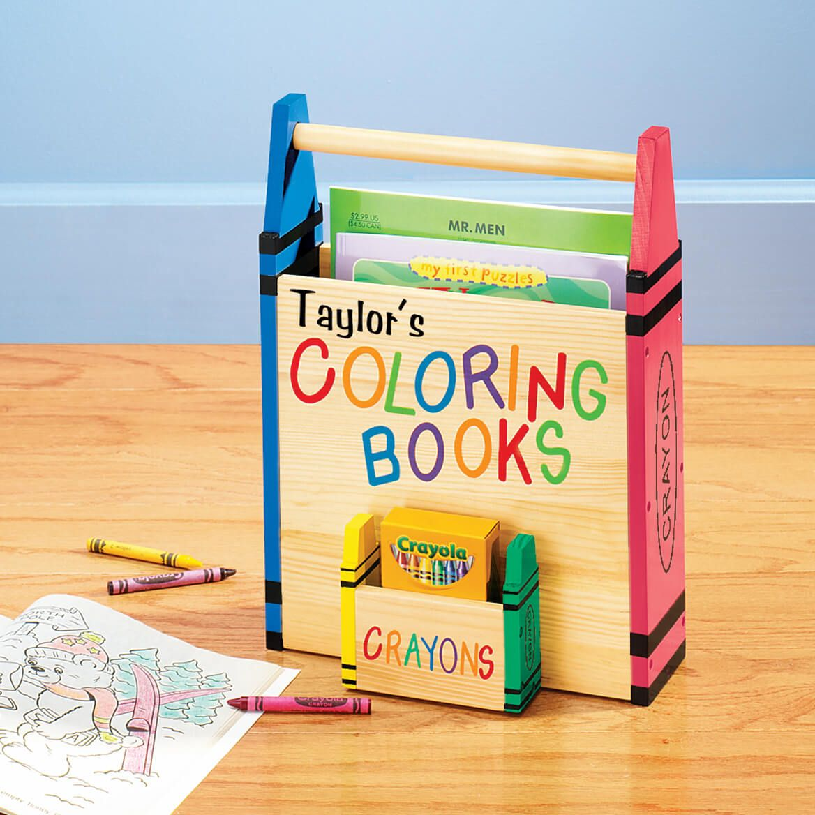 Personalized Coloring Book Holder Personalized Coloring Book Coloring Books Gifts Book Caddy