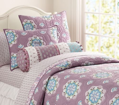 Pottery Barn Kids Brooklyn Twin Quilt Std Sham New Lavender Flower Blue Purple Girl Room Pottery Barn Kids Quilt Bedding