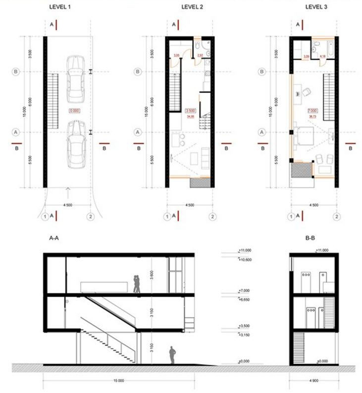 Dise os de casas construidas en terrenos angostos y largos for Planos de casas minimalistas de 2 pisos