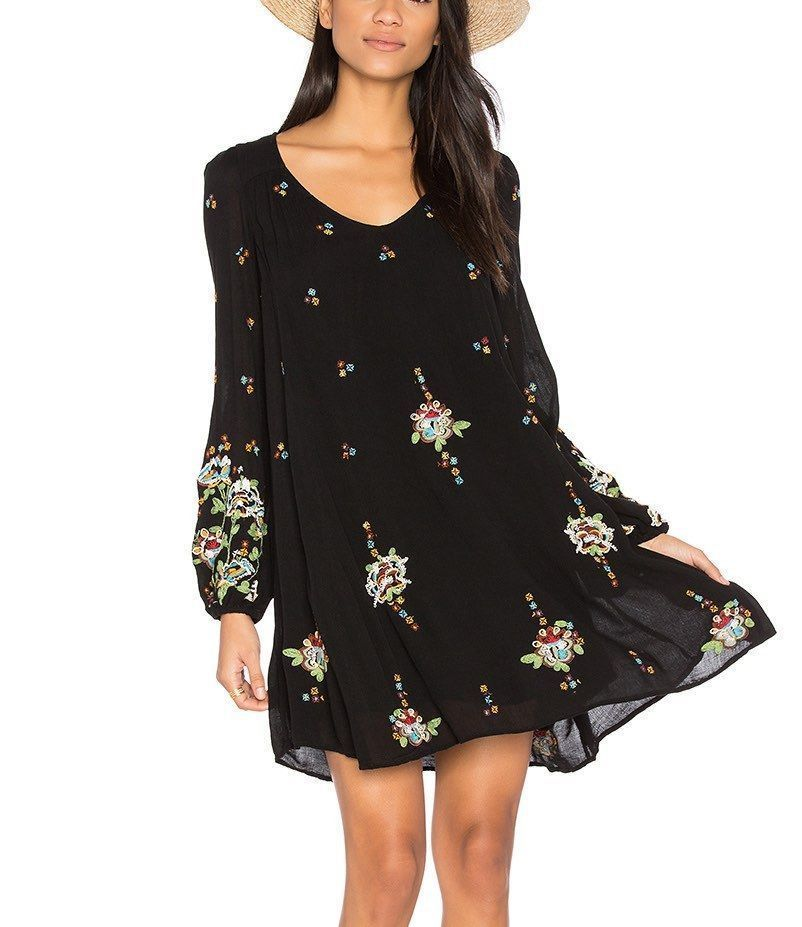 2e070e260f2a5 179373 New Free People Oxford Embroidered Bohemian Black Festival Mini Dress  S  fashion  clothing  shoes  accessories  womensclothing  dresses (ebay  link)