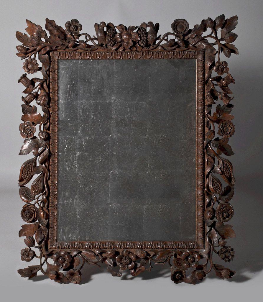 Black Forest carved mirror, 1840