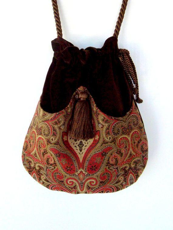 Brown and Red Tapestry Pocket Bag Boho Bag Brown Velvet