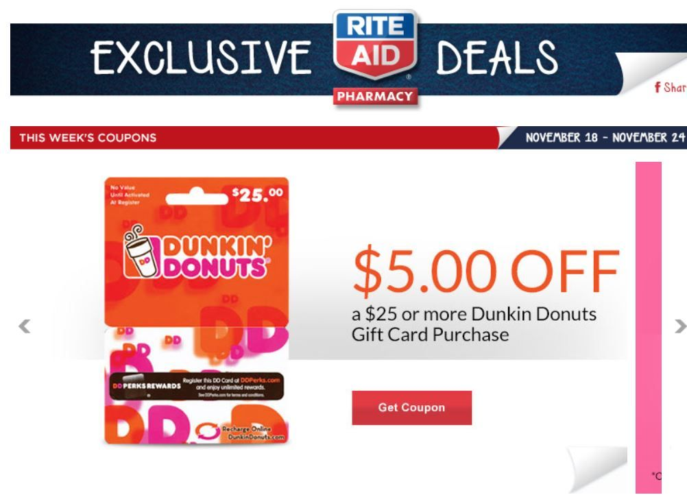 New rite aid coupons released dunkin donuts gift card