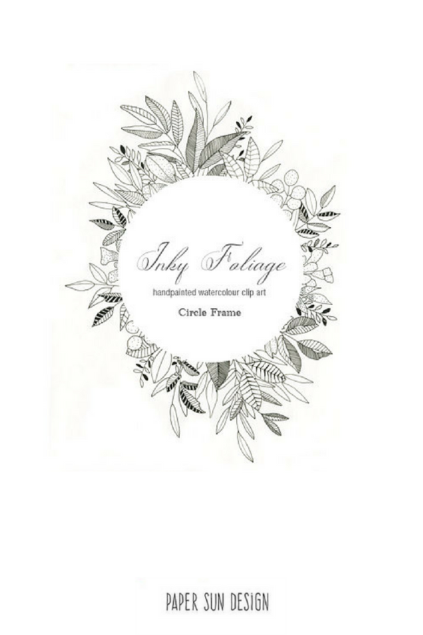 Pen And Ink Floral Frame Clipart Black And White Illustrated Leaf