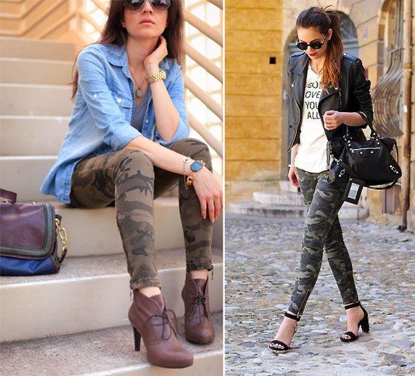 'print' Femenina Militar Outfits Pitillo Moda Camo Pantalones 5O4wKqHFSx