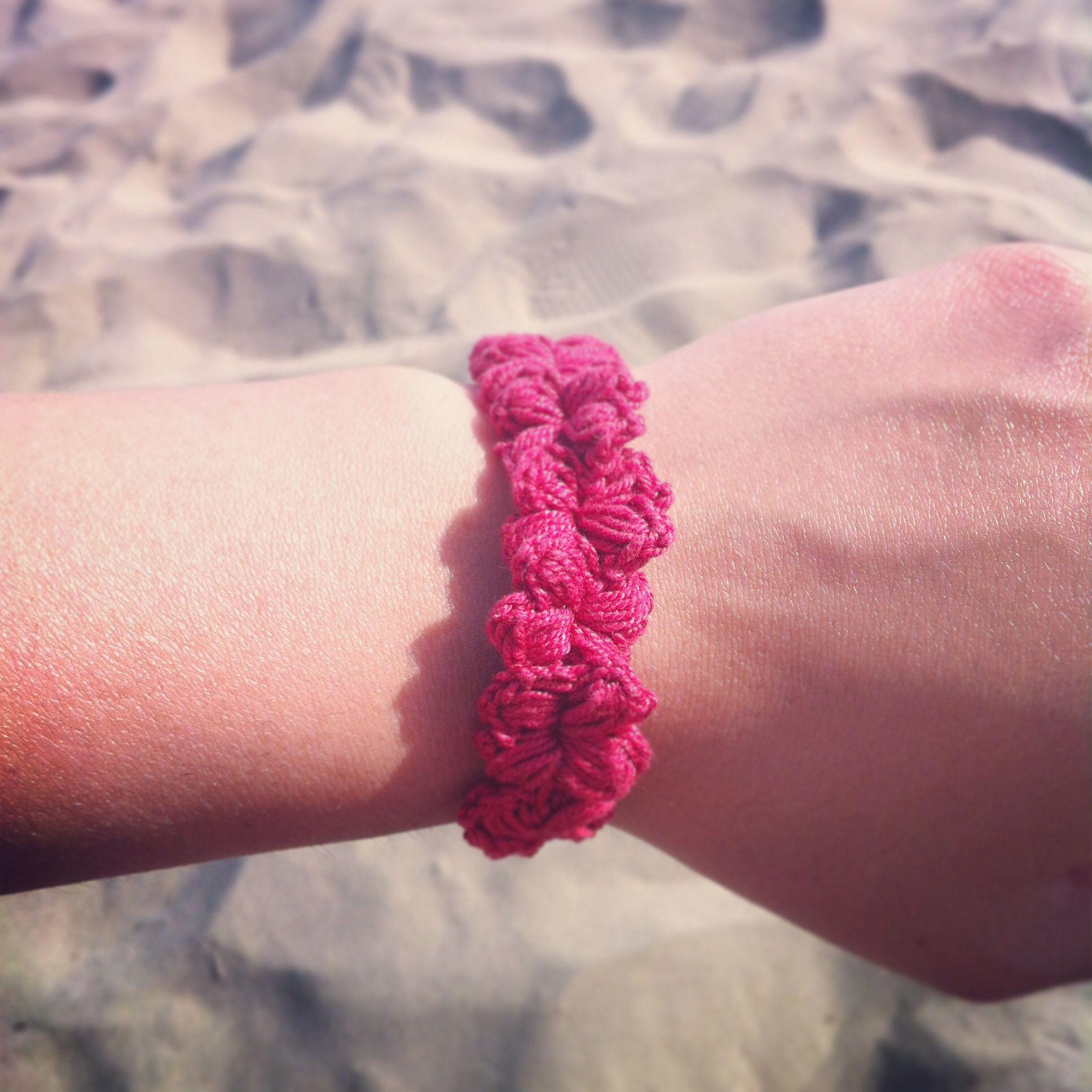 Red Flower Crochet Bracelet