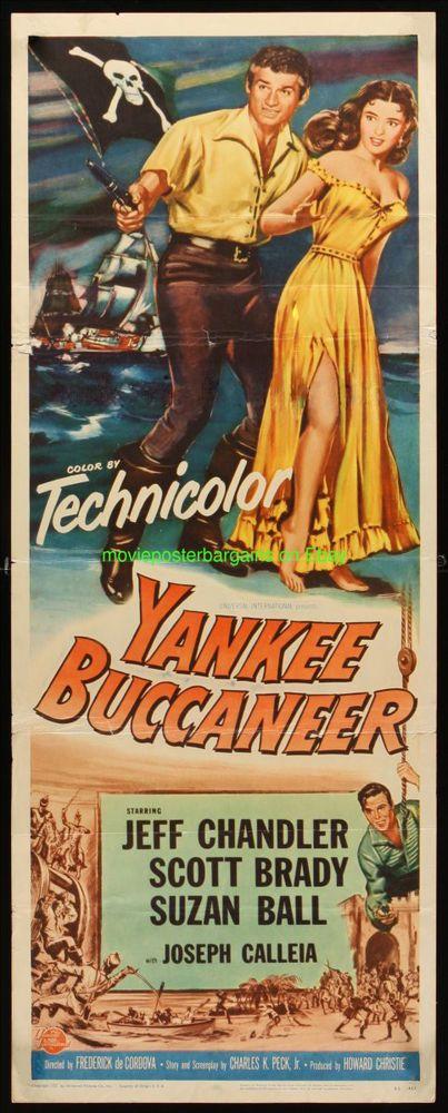 YANKEE BUCCANEER MOVIE POSTER Folded 14x36 Inch 1952 Insert JEFF ...