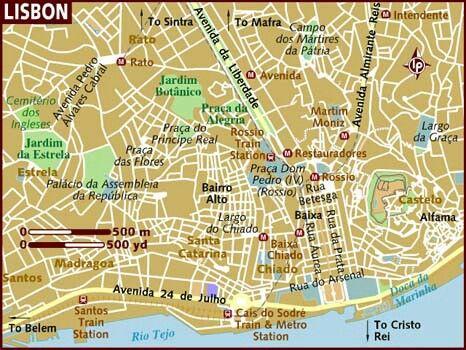 Kaart Lissabon Lissabon Kaarten Vakantie