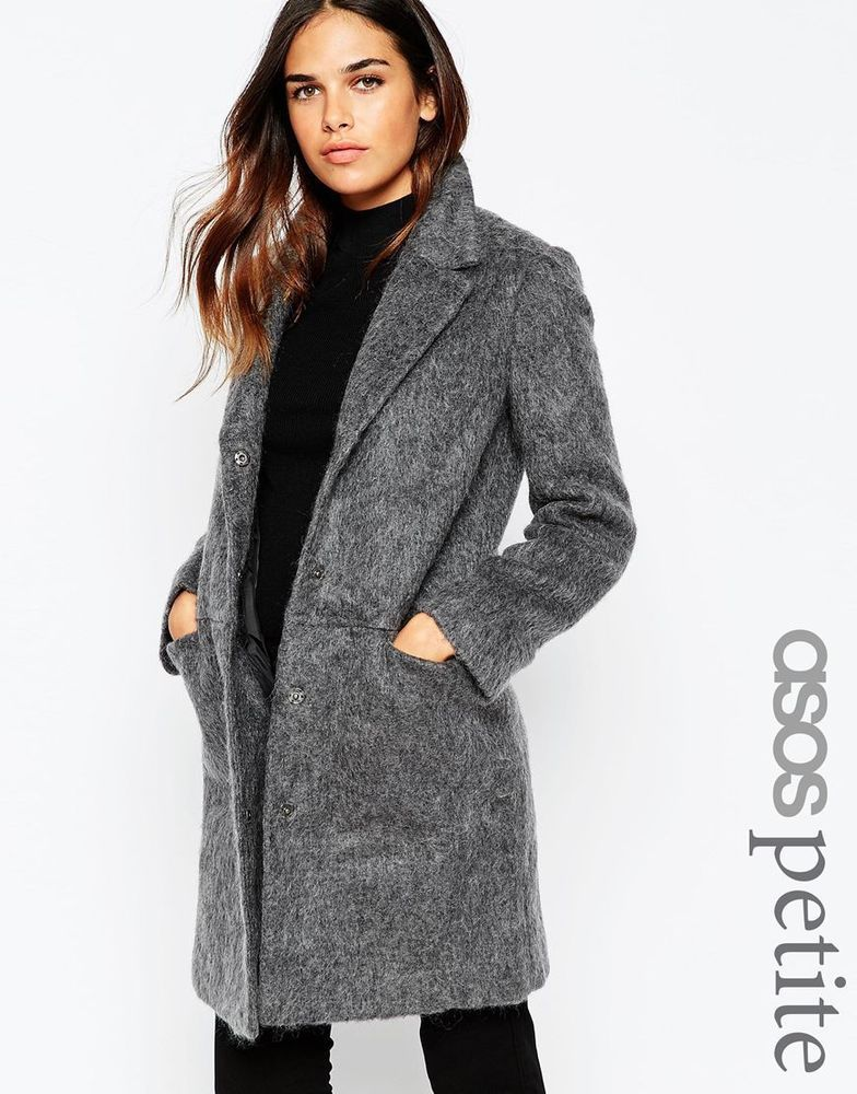 ASOS PETITE Ladies Slim Coat With Seam Detail Mid Grey UK 8/EU 36 ...