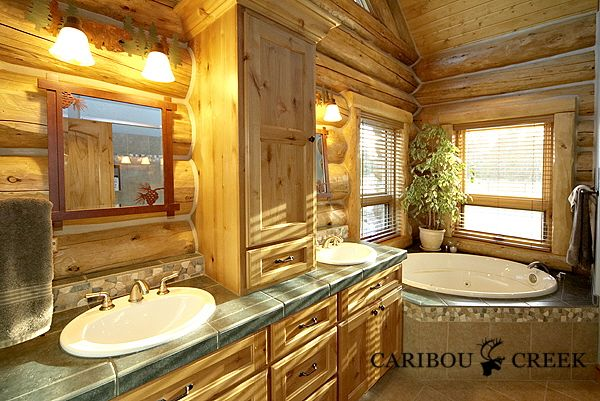 Handcrafted Chink Style Log Bathroom Caribou Creek Bathrooms