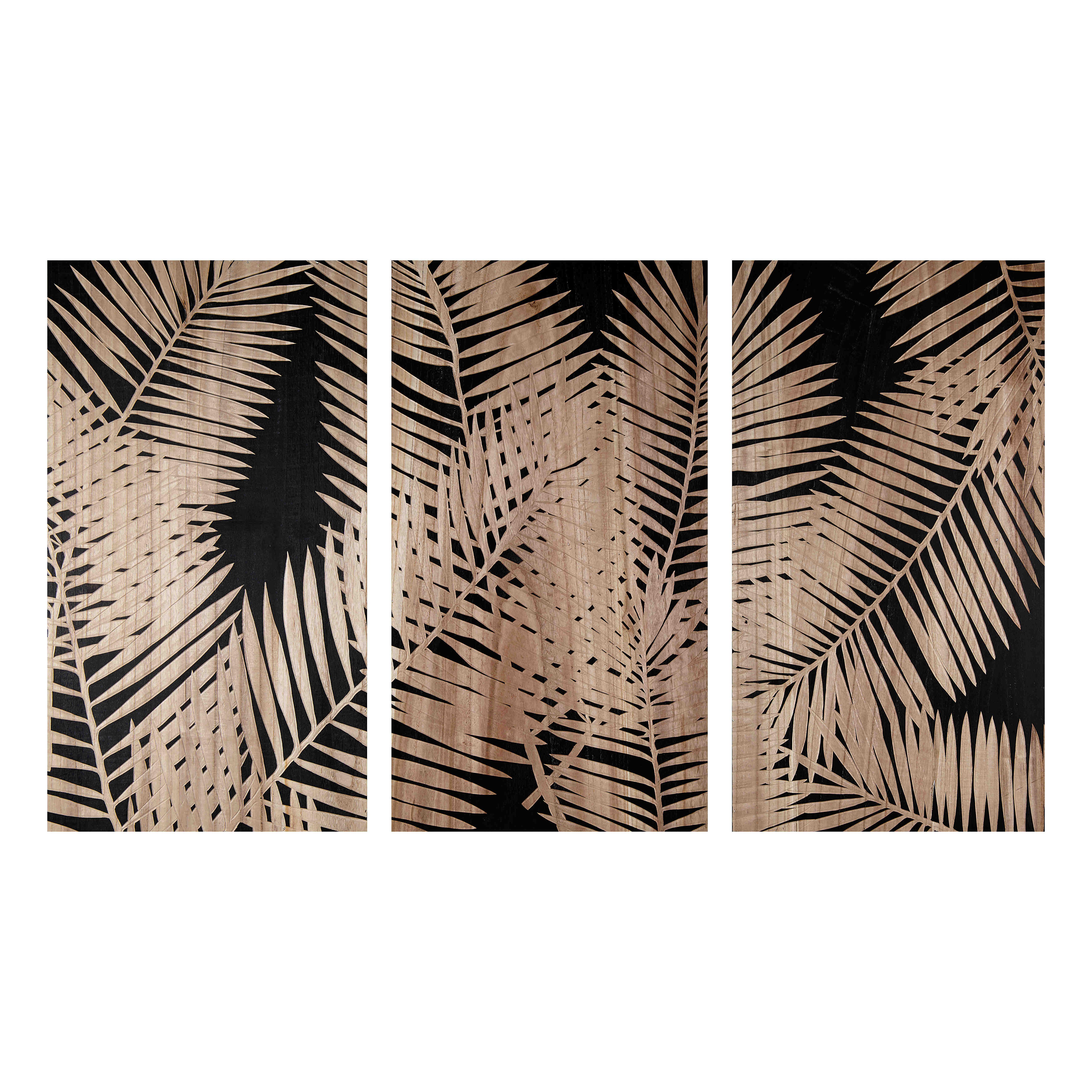 triptyque grav motifs feuilles palmista perfect. Black Bedroom Furniture Sets. Home Design Ideas