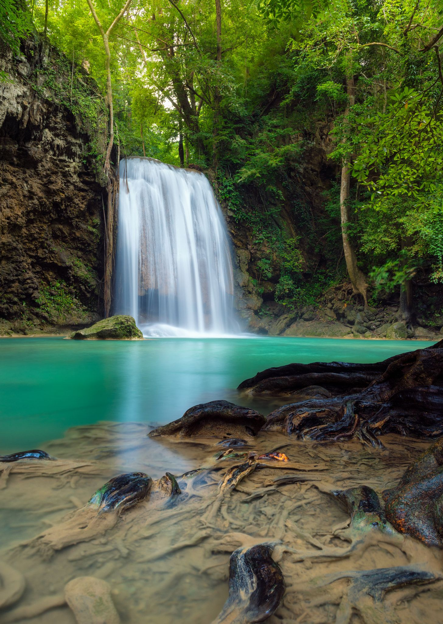 Root And Falls Beautiful Scene Of Waterfalls At Erawan National Park Thailand Erawan National Park National Parks Waterfall