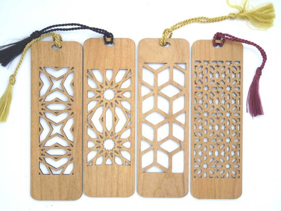 4 Custom Laser Cut Wooden Bookmark - All Four Cutouts
