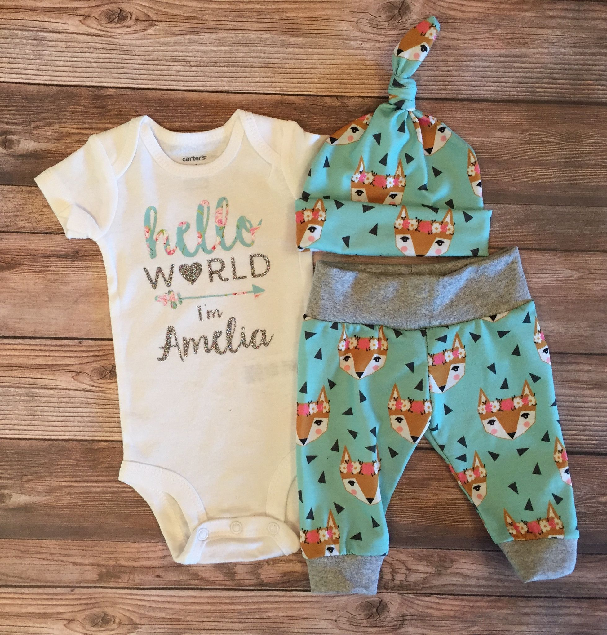 Gray Foxes Baby Boy Gown Fox Gown Gray Foxes Blue Boy Infant Gown Newborn Gown Going  Home Outfit Boy Clothing Boy Infant Outfit Clothing