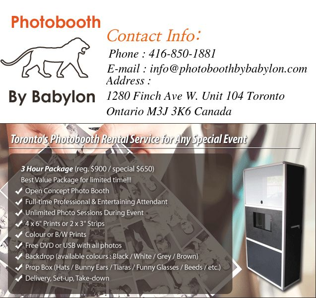 http://www.photoboothbybabylon.com/how-it-works.html  Guests can dress up in various accessories and can utilize various props to make their photos special. Guests receive a printed card with their photos on the spot, walking away with a fun memento of your fabulous event.