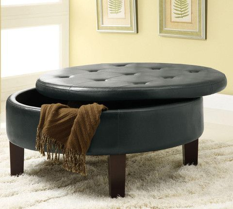 Ashford Black Round Storage Ottoman Features Upholstered Footrest Traditional Round Shape With Exposed Wood Legs Removable Top Cushion Storage Ottoman Coffee Table Round Storage Ottoman Tufted Storage Ottoman