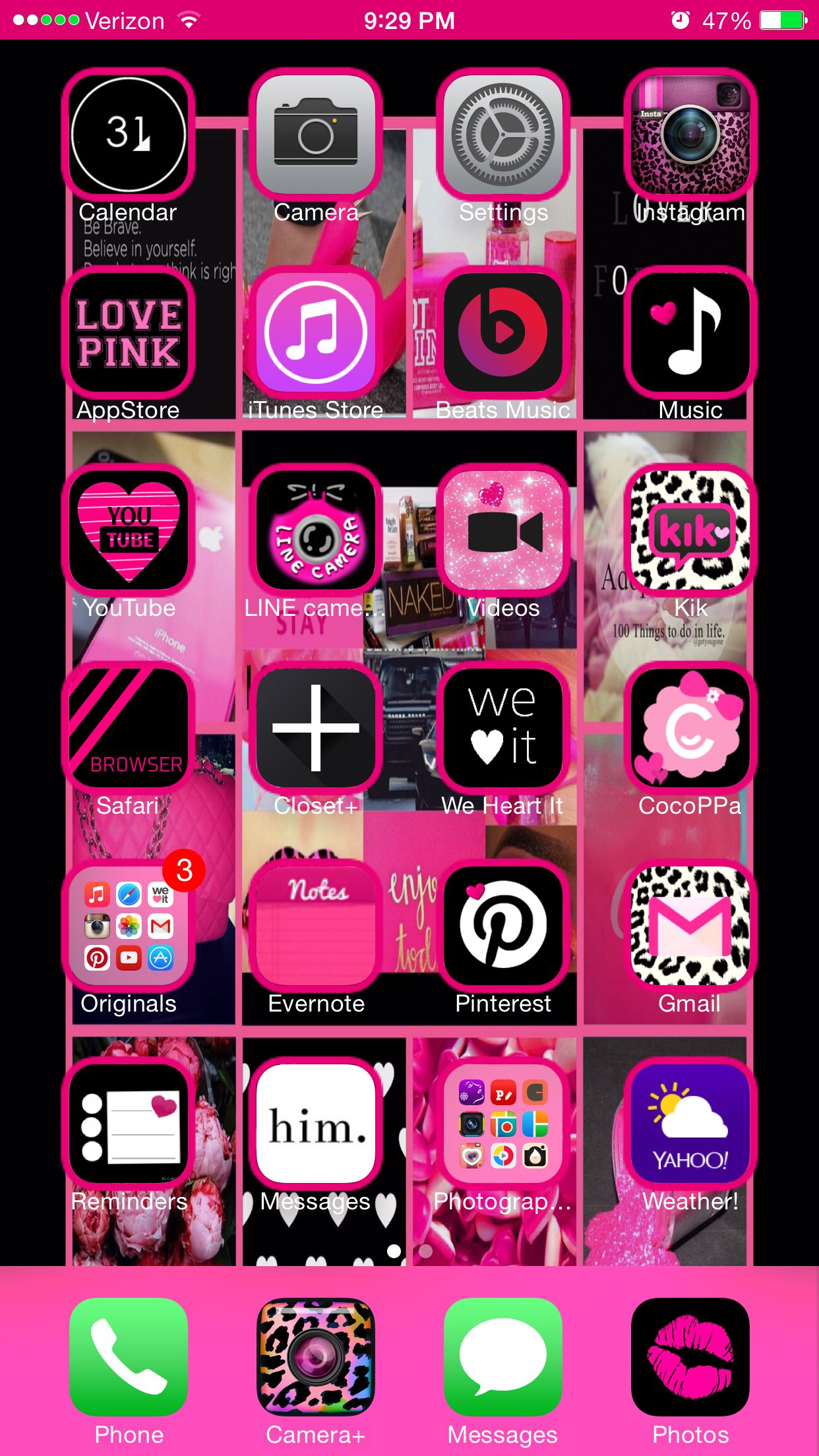 Gmail themes for mobile - Custom Home Screen Using Cocoppa Ios8 Iphone6 I Also Used Pimp Themes For