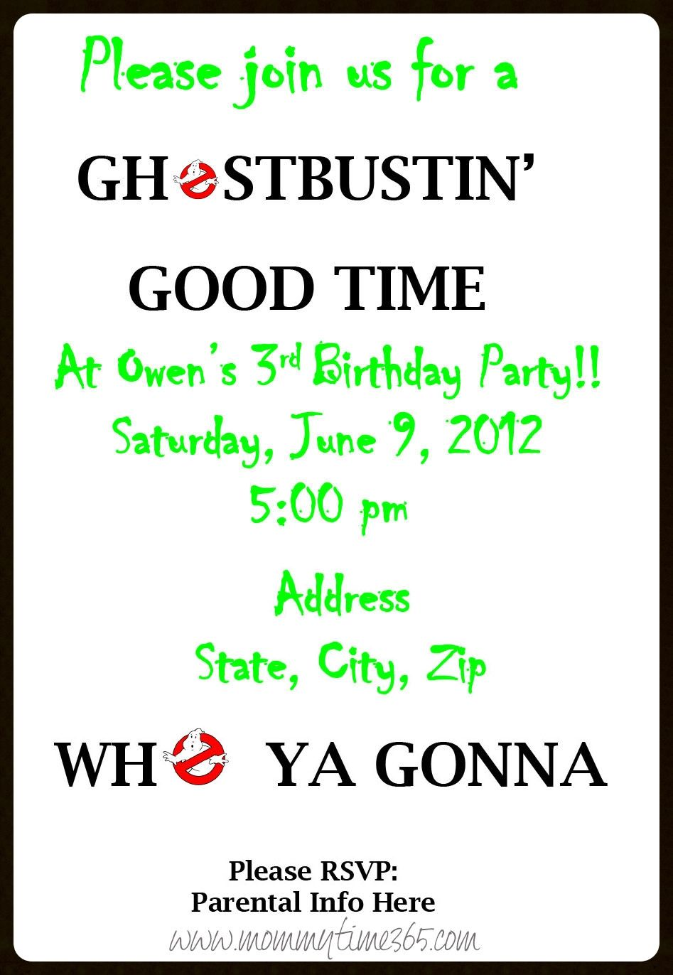 Ghostbusters Party Invitation - Back Side | Ghostbusters Party ...