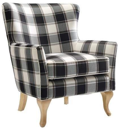 Best Dorel Living Knox Checkered Pattern Accent Chair Black 640 x 480