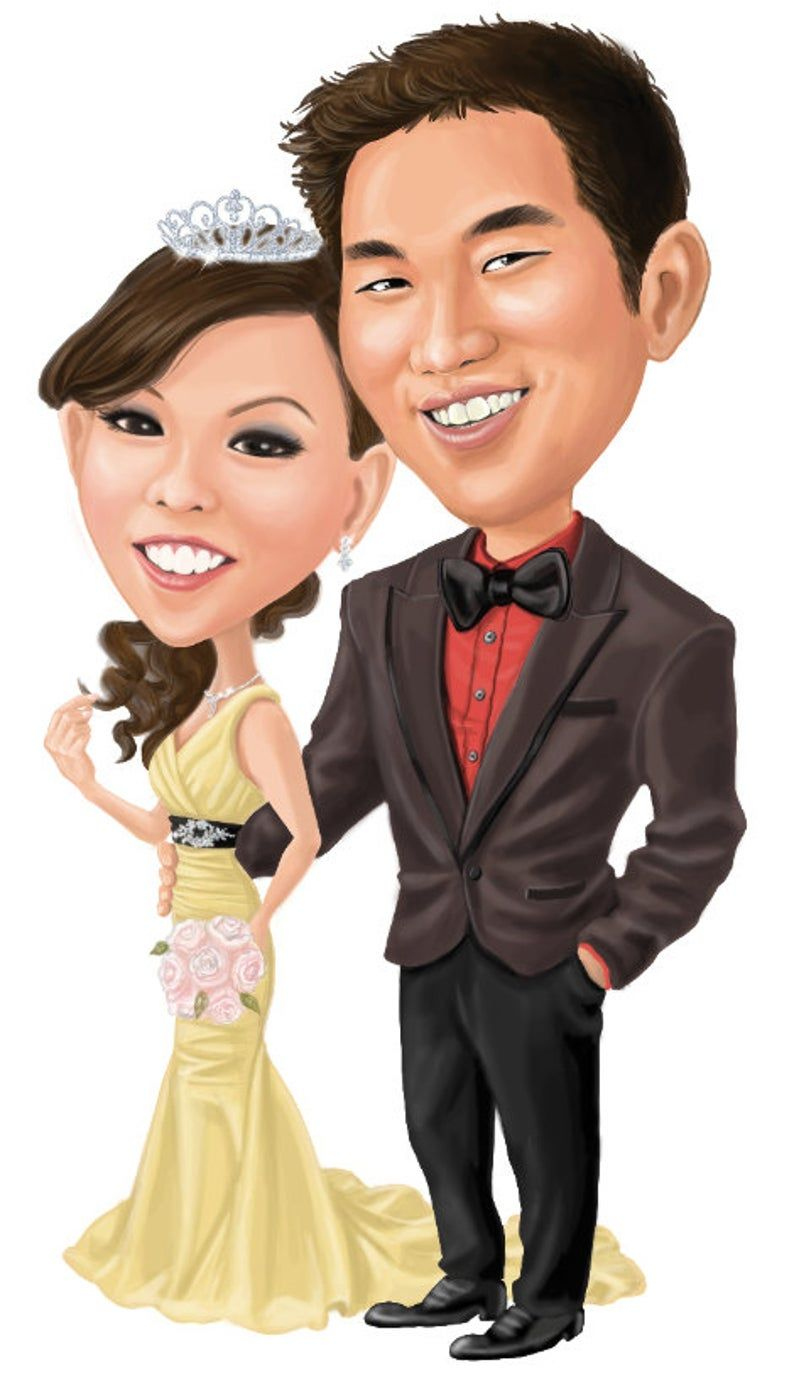 Wedding Gifts Birthday and Anniversary Couples Gifts Caricature Portrait T-Shirts Custom Cartoon Caricature of Your Cartoon Photo Gifts