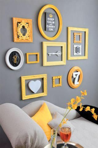 Yellow Frame Collage Love Living Room Decor Gray Yellow