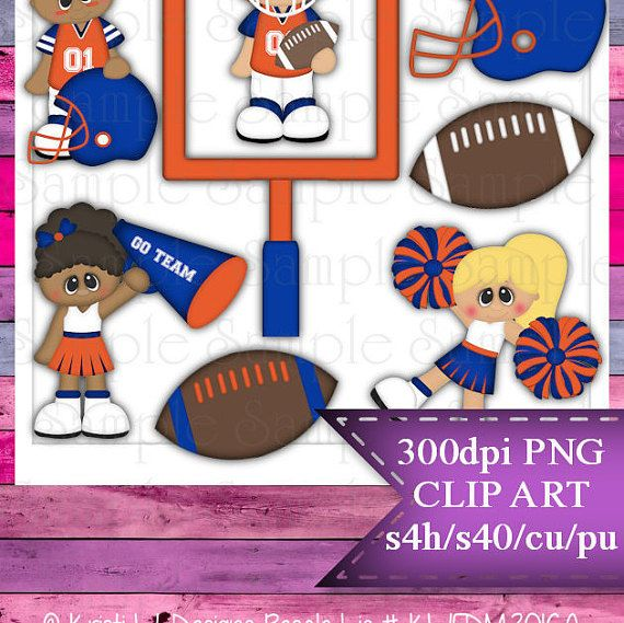 Clipart | Time For Football Orange Blue | Kristi W. Designs Reseller |  for Personal & Commercial Use Instant Download