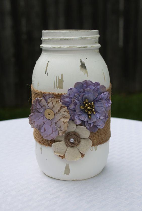 Ball Jar Wedding Decorations Mason Jar Distressed Mason Jar Purple Mason Jar Wedding